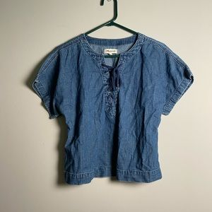 Madewell Blue Denim Lace Up Top